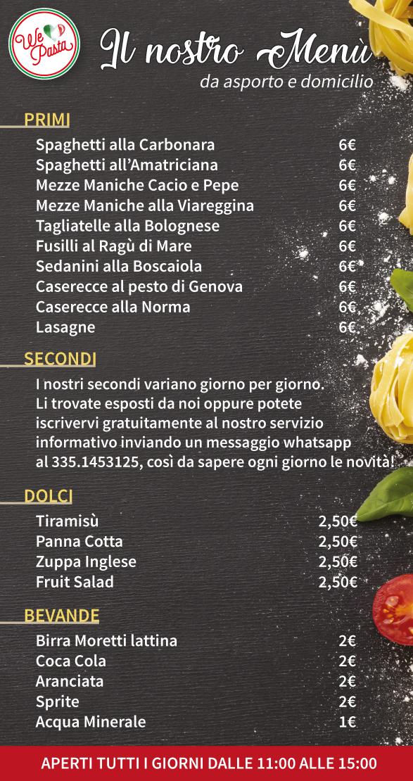 menù we love pasta